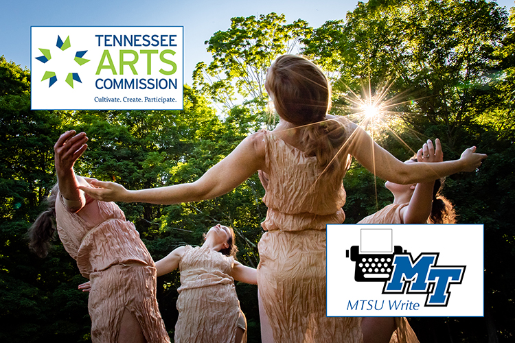file image of MTSU Dance Program Director Meg Brooker, shown with her back to the camera, and a group of dancers in the sunshine amid trees, with the logos for the Tennessee Arts Commission and the MTSU Write program in opposite corners. (2018 dance photo courtesy of Nina Wurtzel)