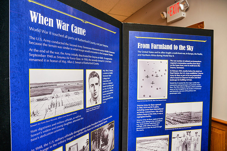 Staff from the Center for Historic Preservation at Middle Tennessee State University recently earned a $43,000 Library of Congress grant for a research project about WWII's impact on the Tennessee Homefront. Staff on the project recently visited the Rutherford County WWII exhibit at the Heritage Center of Murfreesboro and Rutherford County in Murfreesboro, Tenn., on Oct. 13, 2021. (MTSU photo by Andy Heidt)